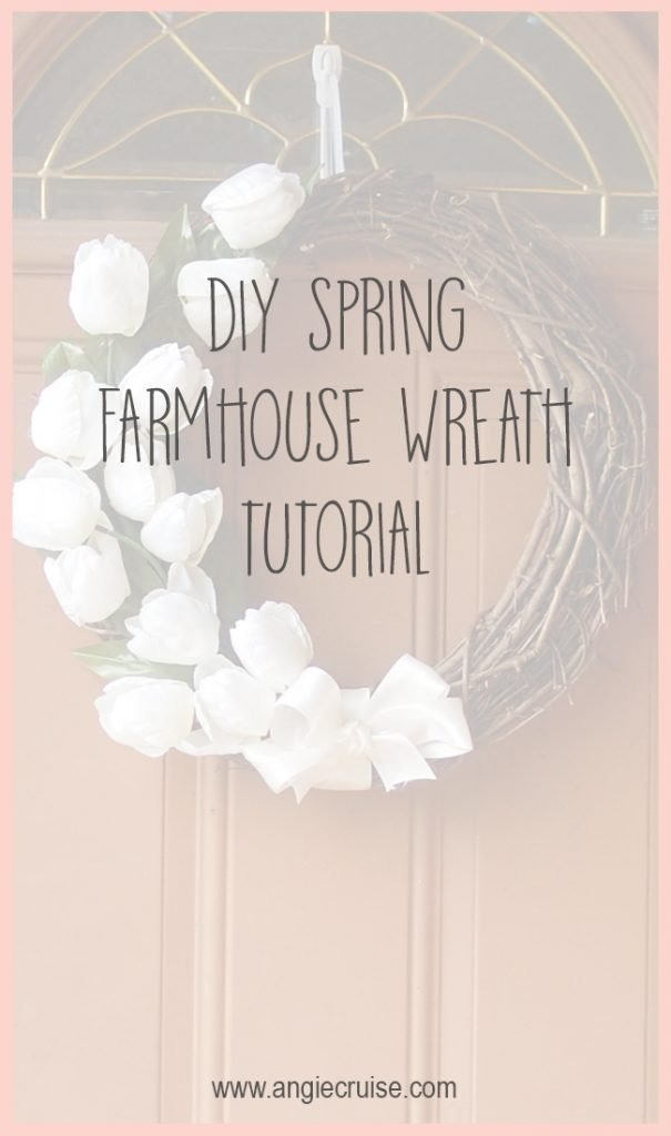 One of my favorite things to change out every season is my door wreath. I decided on a simple DIY farmhouse wreath with tulips for spring.