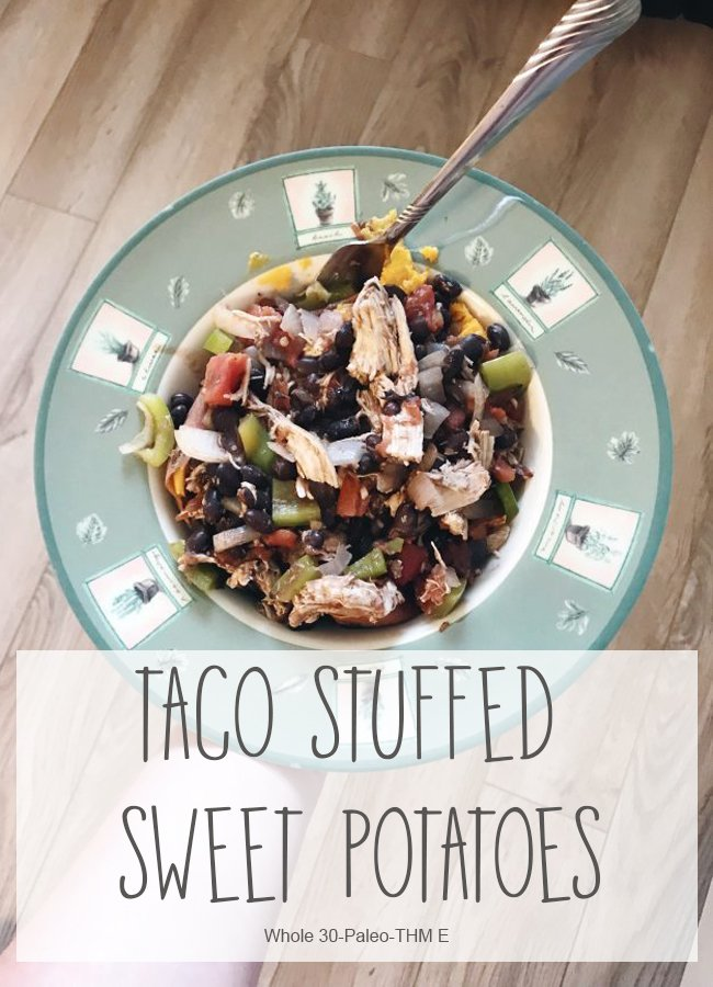 Looking for a new take on your next taco night? These taco stuffed sweet potatoes are a fun way to mix it up! They're whole 30 approved, paleo, and Trim Healthy Mama friendly! #thme #trimhealthymama #wholefoods #paleo