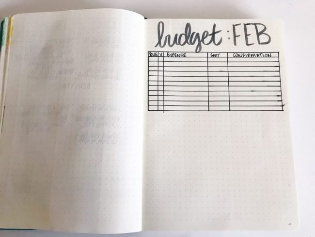 Simple Bullet Journal Setup Idea - Budget