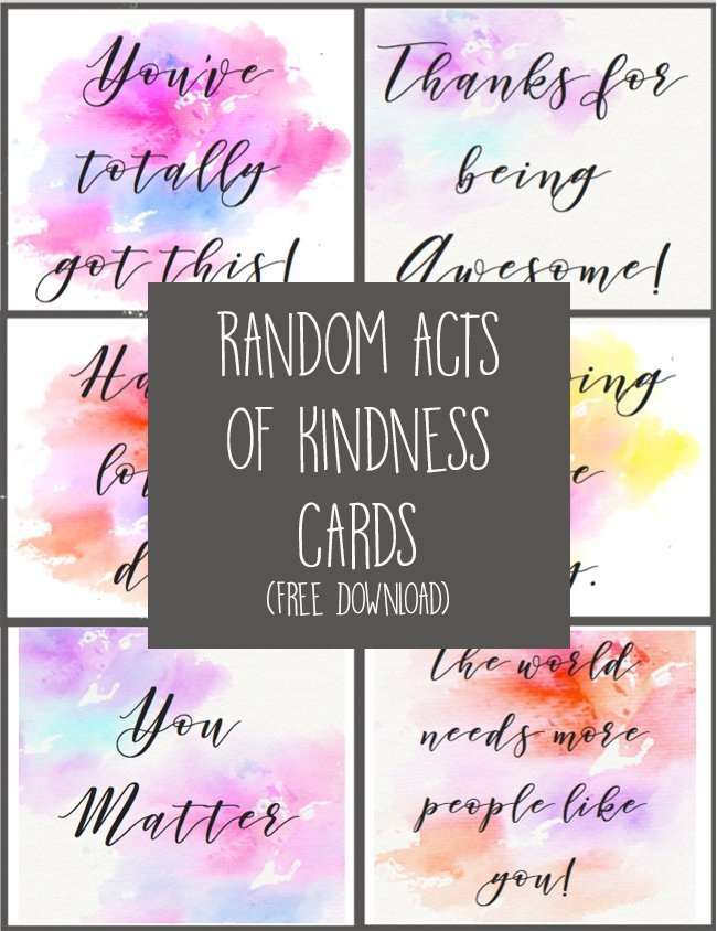 These random acts of kindness cards are a great activity to do with your kids, or even on your own. Hand them out around town, tape them to the bathroom mirror, tuck them into a library book...the opportunities to spread some kindness are endless! #randomactsofkindness #rak #girlscouts