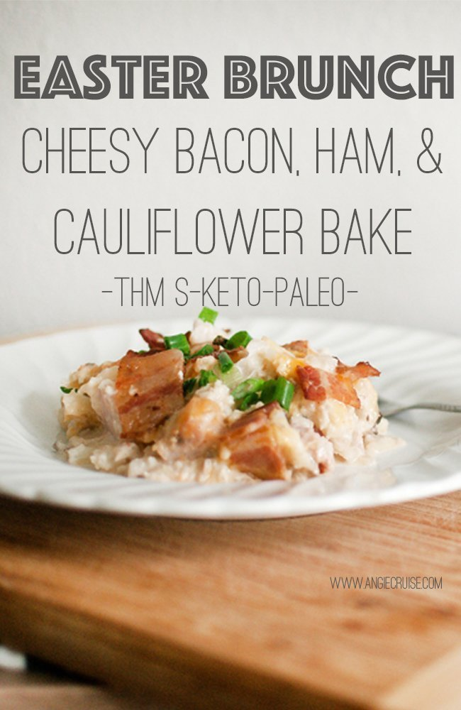 Need a quick, easy Easter lunch idea? This cheesy bacon, ham, & cauliflower casserole will please the whole crowd, big or small. #easterlunch #easterrecipe #paleo #trimhealthymama
