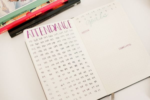 homeschool bullet journal attendance tracker and goals sheet
