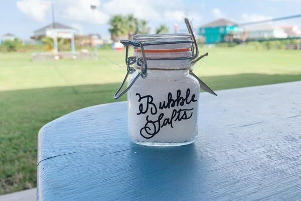 fizzy bath salts in a pretty jar: bubble salts