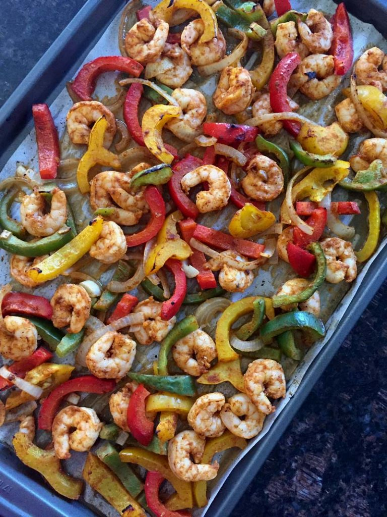 Keto Sheet Pan Shrimp Fajitas