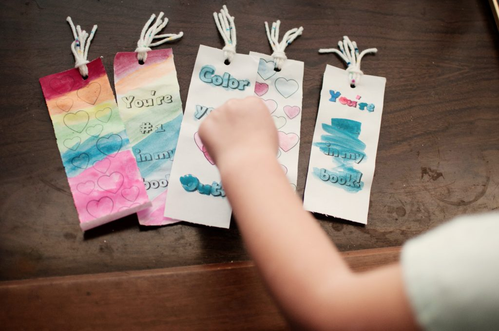 Valentine's Day Bookmarks with Watercolor
