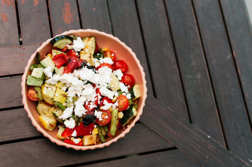 grilled summer salad, fresh produce, grilled veggies