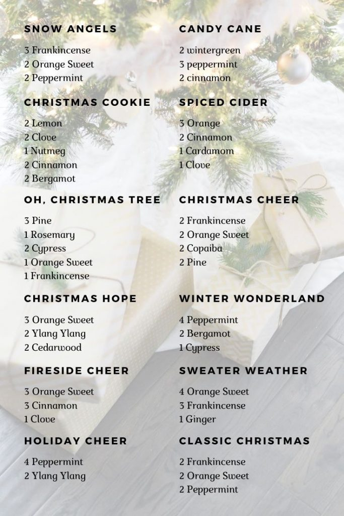 holiday diffuser blends with essential oils